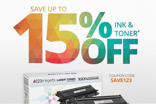 UP TO 15% OFF INK & TONER* COUPON CODE: SAVE123 SHOP NOW! *Scroll down to View Conditions.