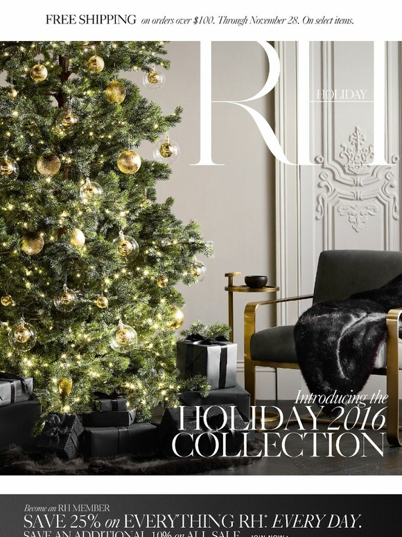 Restoration hardware discover the holiday 2016 collection for Home hardware outdoor christmas decorations