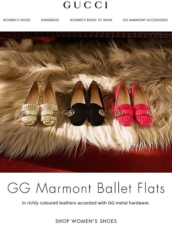 387c5bb4234 Gucci  The New GG Marmont Ballet Flats