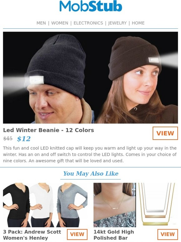af058dee1d1 Mobstub  LED Winter Beanie - Never lose your way this winter.