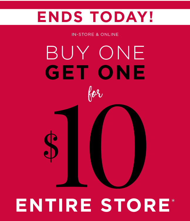 Christopher And Banks: Hurry! BOGO $10 ENTIRE Store Ends