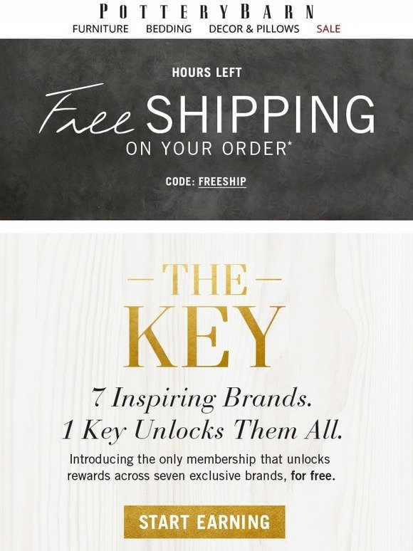 pottery barn introducing the key rewards 7 brands unlimited advantages sign up today and. Black Bedroom Furniture Sets. Home Design Ideas