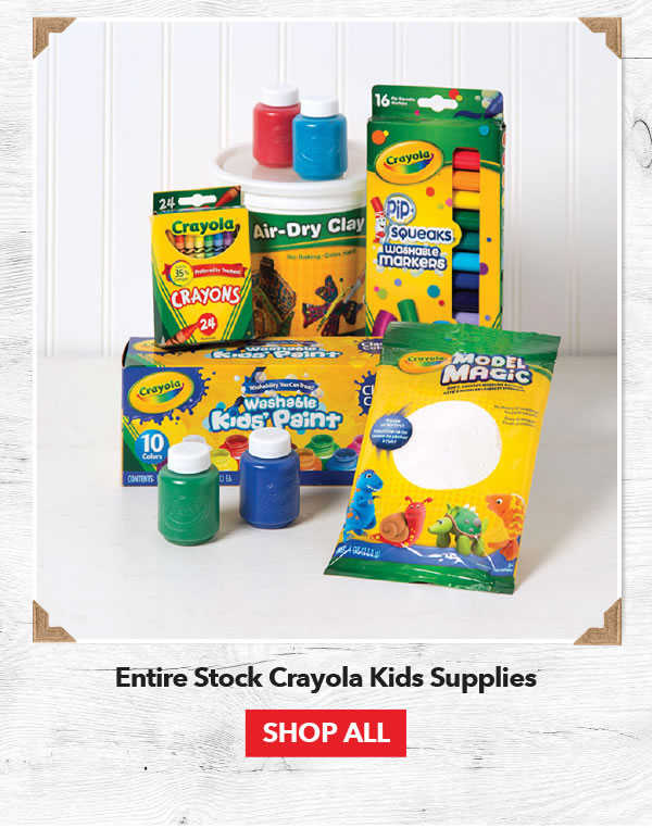 Up to 40% off Entire Stock Crayola Kids Supplies. Shop All.