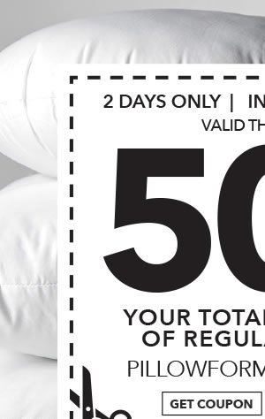 In-store & Online 50% off Your Total Purchase of Regular-Priced Pillowforms & Fiberfill. GET COUPON.