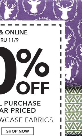 In-store & Online 60% off Your Total Purchase of Regular-Priced Quilter's Showcase Fabrics. SHOP NOW.