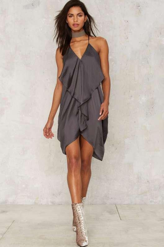 If Anyone Falls Ruffle Dress - Gray
