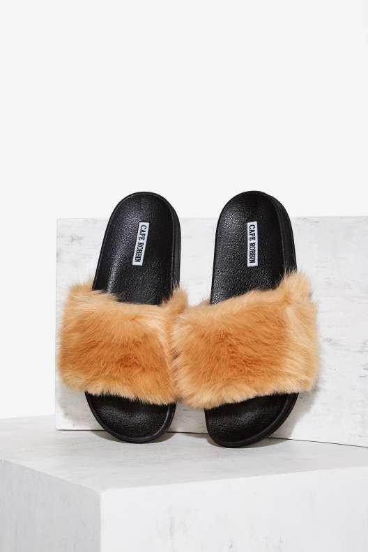 Easy Touch Faux Fur Slide Sandal