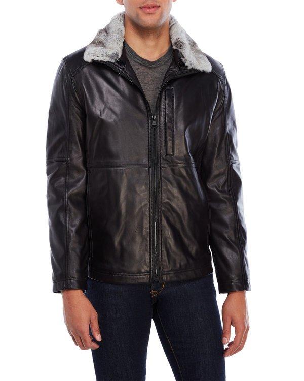 Real Fur Trim Leather Jacket