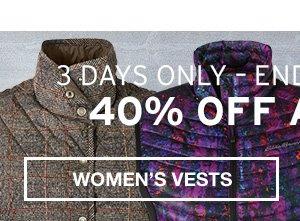 40% OFF ALL VESTS | WOMEN'S VESTS