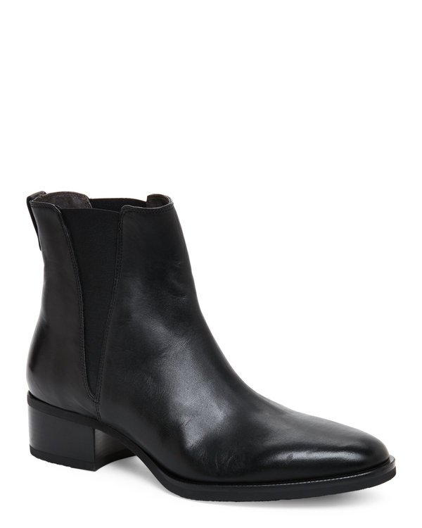 Black Leather Low Heel Chelsea Boots