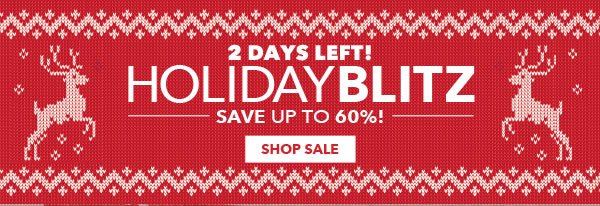2 Days Left! Holiday Blitz. Save up to 60%! SHOP SALE.