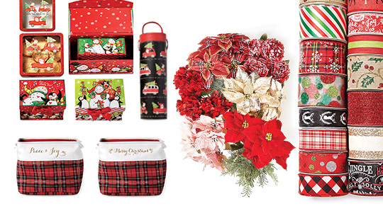 Doorbuster 70% off Holiday Decorative Storage, Bushes and Ribbon