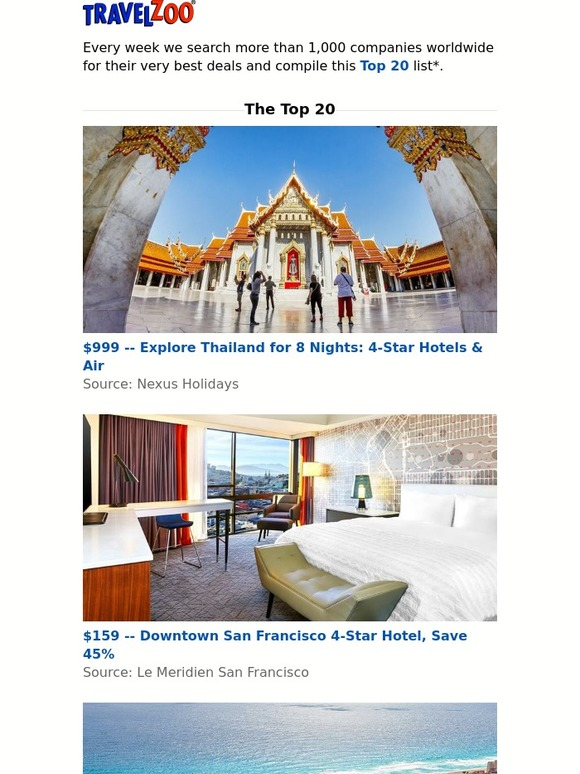 Travelzoo: This Week's Top 20 | Milled