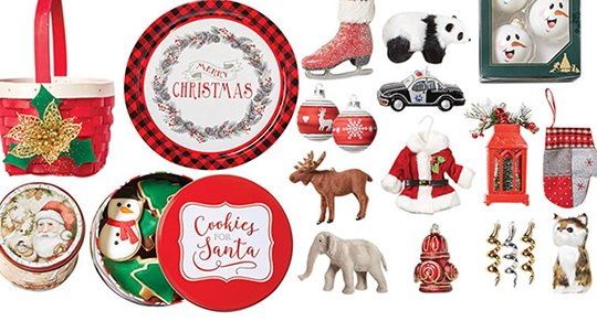Doorbuster- 70% off Entire Stock Holiday Boxed & Open Stock Ornaments, Baskets & Tins