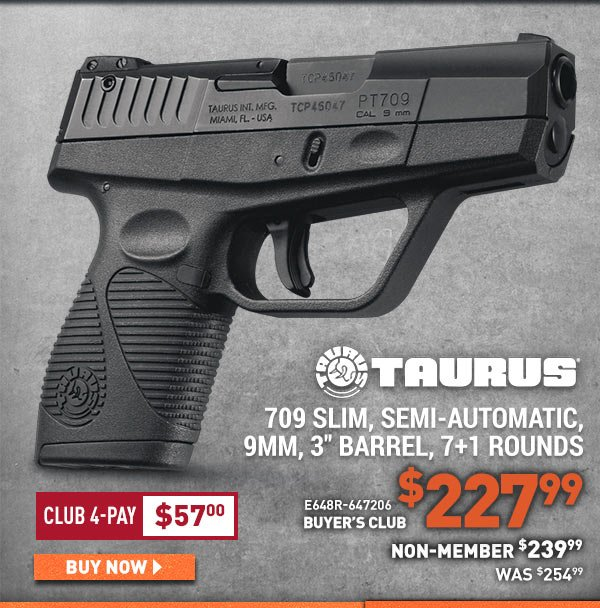 "Taurus 709 Slim, Semi-Automatic, 9MM, 3"" Barrel, 7+1 Rounds"