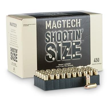 Magtech Shootin' Size, 9mm Luger, FMJ, 115 Grain, 450 Rounds