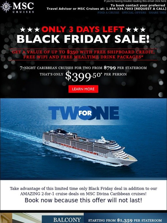 MSC Cruises Black Friday Sale For Pricing Shipboard - Free wifi on cruise ships