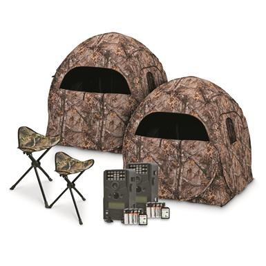 Ameristep Double Trouble Ground Hunting Blind, Game / Trail Camera Kit and Tripod Stool Combo