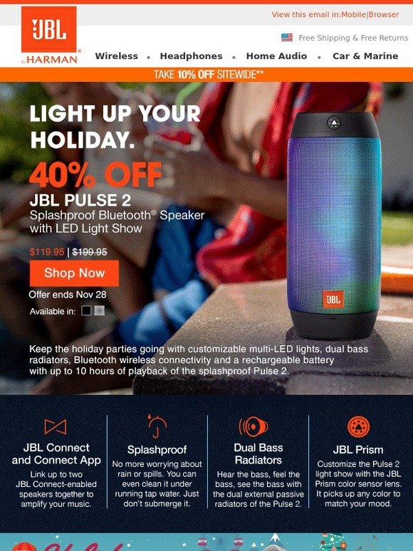 JBL: Save 40% on Pulse 2 & Light Up the Holiday Party    Milled
