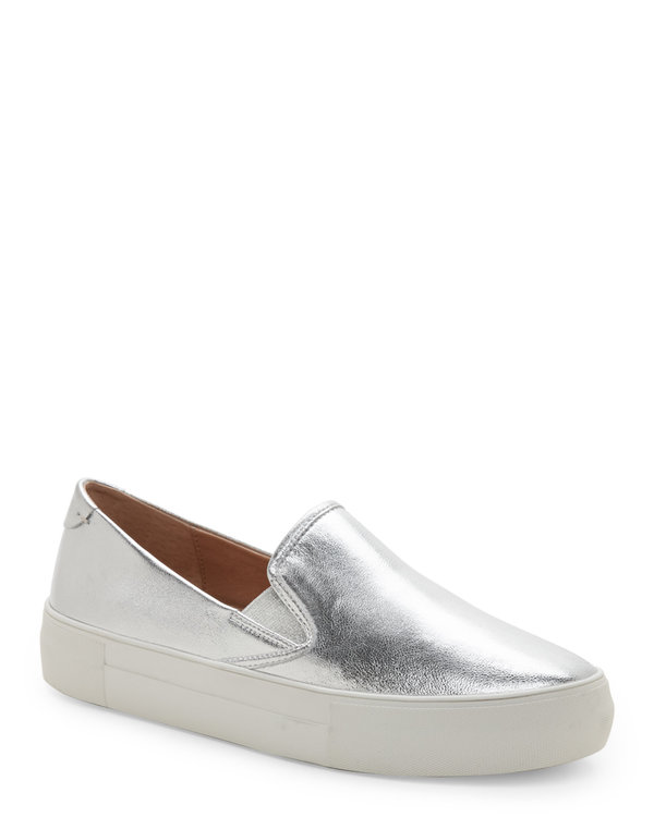 Silver Aimee Slip On Platform Sneakers