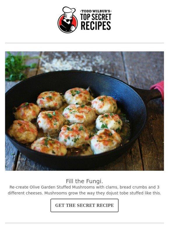 top secret recipes inc make a mcrib olive garden stuffed mushrooms milled - Olive Garden Stuffed Mushrooms