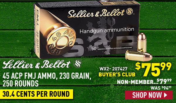 Sellier & Bellot 45 ACP Ammo, 230 Grain, 250 Rounds