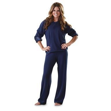 Guide Gear Women's Fleece Pajamas with Satin Trim