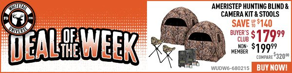 Deal of the Week: Ameristep Double Trouble Ground Hunting Blind, Game/Trail Camera Kit and Tripod Stool Combo