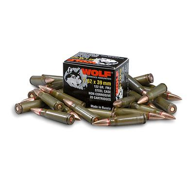 Wolf, 7.62x39mm, FMJ, 123 Grain, 500 Rounds