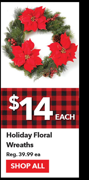 $14 Holiday Floral Wreaths. Reg. 39.99 ea. Shop All.