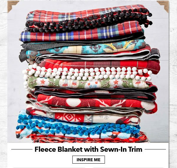Fleece Blanket with Sewn-In Trim. INSPIRE ME.
