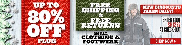 Up to 80% Off, Plus Free Shipping & Free Returns on All Clothing & Footwear! New Discounts Taken Daily! Enter Coupon Code SH1252 at check-out.