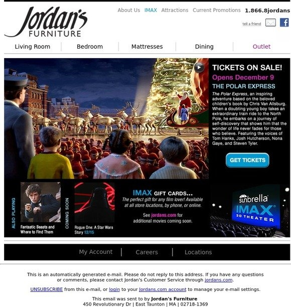 Jordan S Furniture Get Tickets For Polar Express In Imax 3d Milled