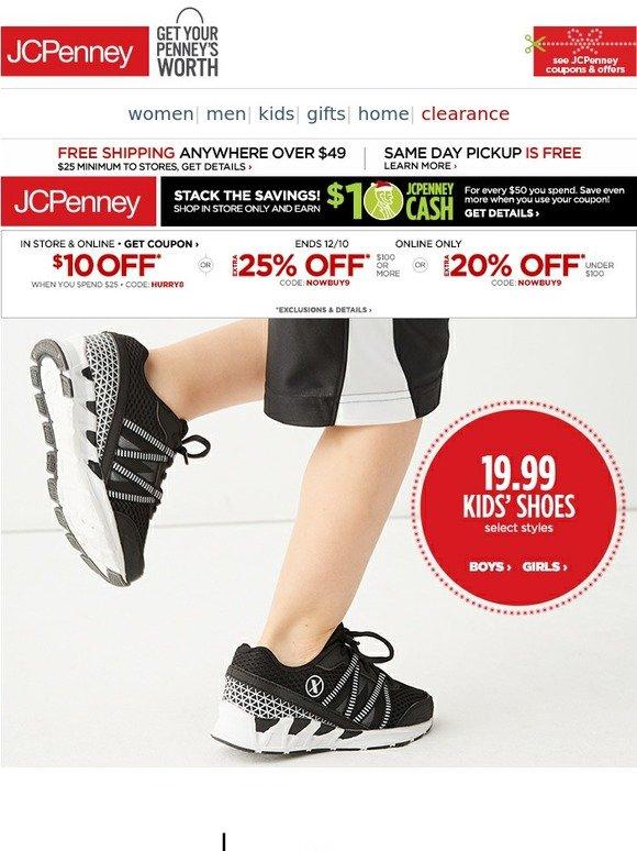 JC Penney: $19.99 kids' shoes \u0026 boots
