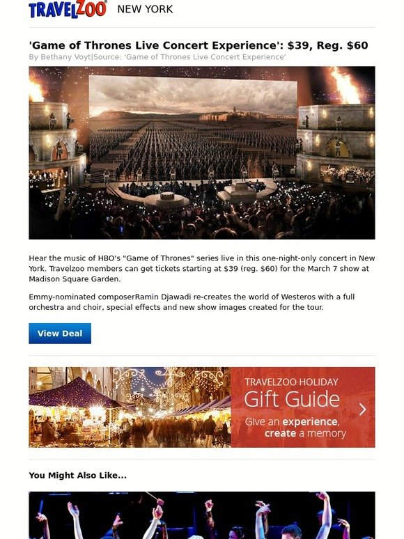 Travelzoo 39 Game Of Thrones Live Concert Experience 39 39 Reg 60 Milled