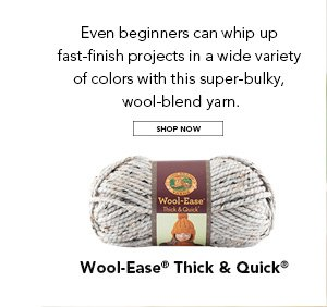 Even beginners can whip up fast-finish projects in a wide variety of colors with this super-bulky, wool-blend yarn. SHOP NOW.