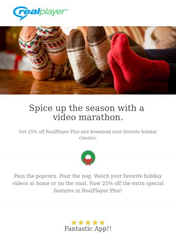 RealPlayer Cloud: Be merry and bright with 25% off
