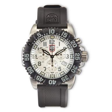 Luminox Navy SEAL Colormark Chronograph Watch, 3187 Series, Silver Quartz