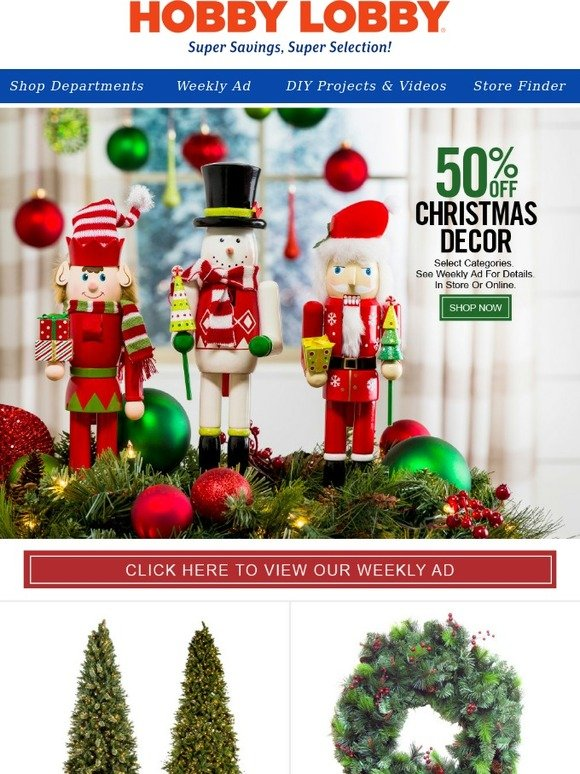 hobby lobby 50 off christmas decor trees wrapping paper more milled - Hobby Lobby Christmas Decorations 2016