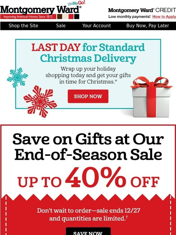 Montgomery Ward: Time is Running Out! Order Your Christmas Gifts Now ...