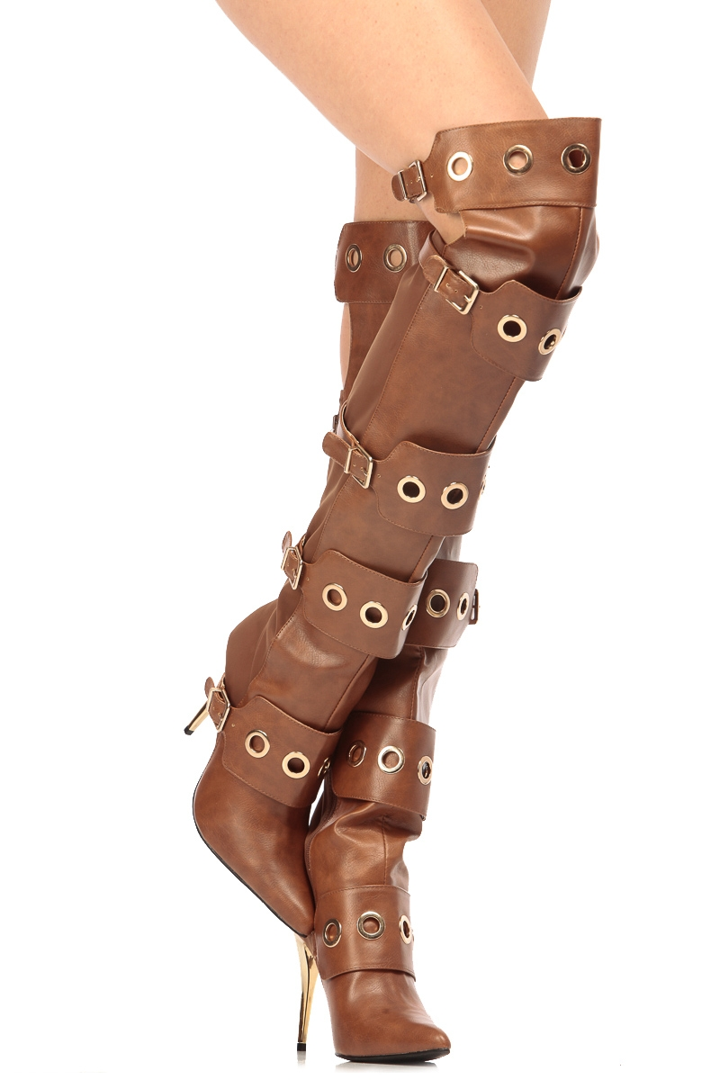 66d1034215d Cognac Faux Leather Ring Detailed Pointed Toe Thigh High Boots