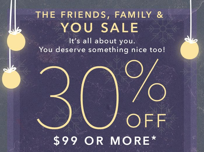 Shop promo eligible shoes and take 30% off $99 or more.