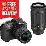 D3400 DSLR <br />with 18-55mm & <br />70-300mm Lenses