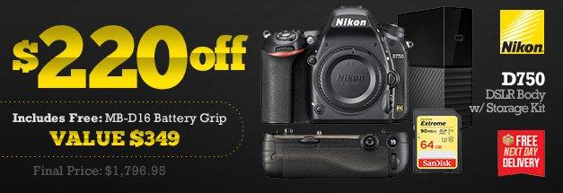 Nikon D750 DSLR Body with Storage Kit