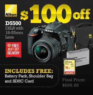 Nikon D5500 DSLR with 18-55mm Lens