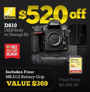 Nikon D810 DSLR Body with Storage Kit