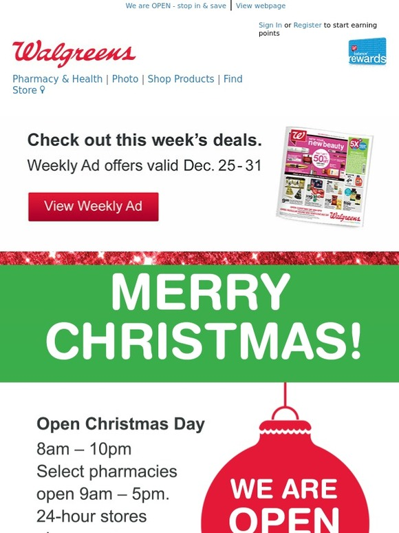 Walgreens Open On Christmas.Walgreens Weekly Ad Merry Christmas Get Fast Easy