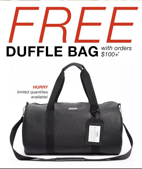 Guess Factory  Free Duffle Bag + Extra 10% Off  f85e7b0355633