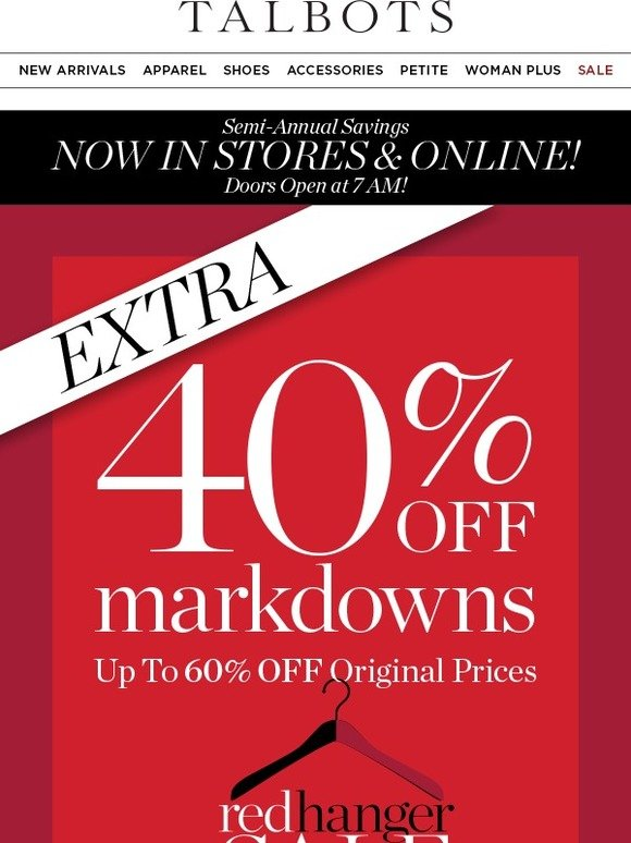 728e3fcfaf5 Talbots  EXTRA 40% off Markdowns  Red Hanger Sale!