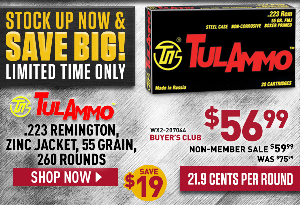 TulAmmo .223 Remington, Zinc Jacket, 55 Grain, 260 Rounds